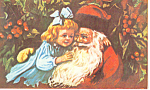 Santa with Young Girl Postcard p19495
