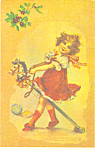 Young Girl with Hobby Horse Christmas Postcard p19496
