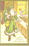 Santa in a Green Coat Christmas Postcard p19502