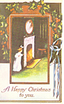 Young Girl at Fireplace Christmas Postcard p19507