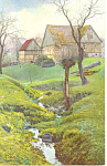 House and Barn by a Stream Scenic Postcard