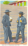 Amish Men in Pennsylvania Dutch Town Postcard p19836