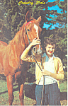 Click here to enlarge image and see more about item p19927: Horse and Girl Contry Pals Postcard p19927