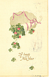 A Happy New Year with Shamrocks Postcard p19945
