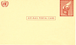Click here to enlarge image and see more about item p20016: United Nations 6 Cent Airmail Postal Card