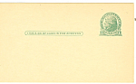 Click here to enlarge image and see more about item p20032: UX27 1 Cent Green Jefferson Postal Card