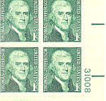 Click here to enlarge image and see more about item p20038: #1278 1 cent Thomas Jefferson Plate Block