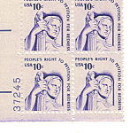 Click here to enlarge image and see more about item p20039: #1592 10 cent Contemplation of Justice Plate Block