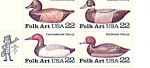 Click here to enlarge image and see more about item p20044: #2141a, 22 cent Folk Art Duck Decoys Zip Code Block