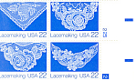 Click here to enlarge image and see more about item p20049: #2354a, 22 cent Folk Art Lacemaking Plate Block