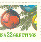 Click here to enlarge image and see more about item p20050: #2368 22 cent Christmas Ornaments Single Uncirc