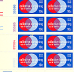 Click here to enlarge image and see more about item p20055: #1558 10 Cent Collective Bargaining Plate Block