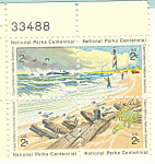 Click here to enlarge image and see more about item p20065: #1451a -  2 Cent National Parks Centennial Plate Block