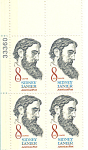 Click here to enlarge image and see more about item p20069: #1446 -  8 Cent Sidney Lanier Plate Block