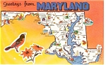 Click here to enlarge image and see more about item p2068: Maryland State Map  Postcard