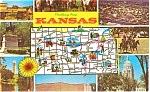 Click here to enlarge image and see more about item p2073: Kansas State Map  Multi Views Postcard