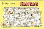 Kansas State Map Greetings  Postcard
