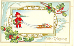 Merry Christmas Child with Sled Postcard p21070