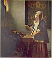 A Woman Weighing Gold Vermeer Postcard p21139