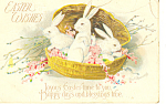 Click here to enlarge image and see more about item p21153: Easter Wishes Basket of Bunnies Postcard p21153