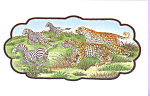 Click here to enlarge image and see more about item p22830: Embroidery of a Leopard and Leopardess after Zebra p22830