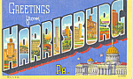 Click here to enlarge image and see more about item p22904: Big Letter Card Harrisburg,Pennsylvania p22904