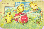 Click here to enlarge image and see more about item p22993: Easter Greetings with Chicks and Colorful Egg