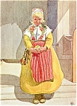 Click here to enlarge image and see more about item p2322: Painting of Girl in Sweden Native Costume Postcard p2322