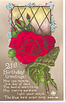 Red Rose 21st Birthday Post Card