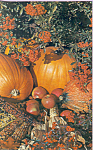 Click here to enlarge image and see more about item p23329: Harvest of Pumpkins,Apples, Corn