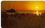 Click here to enlarge image and see more about item p23834: Sunset with Fisherman s Nets Isla Mujeres Mexico p23834
