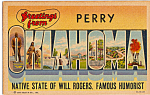 Click here to enlarge image and see more about item p23974: Greetings From Perry Oklahoma Big Letter