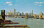 Click here to enlarge image and see more about item p24252: Lower Manhattan Skyline Showing Brooklyn Bridge New York City p24252