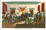 Click here to enlarge image and see more about item p24274: Signing of the Declaration of Independence Postcard p24274