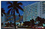 Night View,Hotels, Miami Beach,Florida Vintage Cars