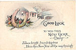 Click here to enlarge image and see more about item p25316: Good Luck to You This New Year Day Postcard p25316