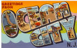 Click here to enlarge image and see more about item p26141: Greetings From, Ocean City New Jersey Big Letter Postcard p26141