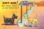 Click here to enlarge image and see more about item p26343: Hoot Mon Note There Thats a Pay Station Postcard p26343