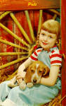Pals-Young Girl with Puppy