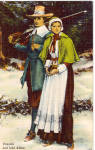 Click here to enlarge image and see more about item p27228: Priscilla and John Alden Postcard p27228