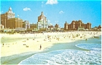 Click here to enlarge image and see more about item p2743: Atlantic City NJ Beach and Skyline Postcard p2743