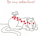 Valentines  Postcard Lion Theme