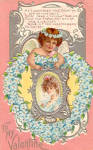 Click here to enlarge image and see more about item p27540: Heart of Forget Me Nots Valentine Postcard