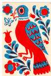 Click here to enlarge image and see more about item p27597: Carolina Parrot a Favorite Dutch Fraktur Design Postcard p27597