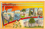 Greetings From Virginia Big Letter Postcard p27751