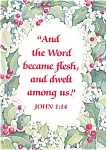 Click here to enlarge image and see more about item p2796: Christmas Message From John 1:14 Postcard
