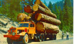 Click here to enlarge image and see more about item p28038: Logging Truck Postcard p28038