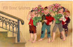 Click here to enlarge image and see more about item p28059: Good Wishes, Young Boys bearing Flowers