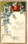 Click here to enlarge image and see more about item p28229: Best Wishes Vintage Post Card with Flower Motif p28229