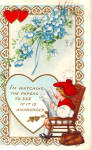 Click here to enlarge image and see more about item p28332: Valentines Postcard Child in Rocker 1915
